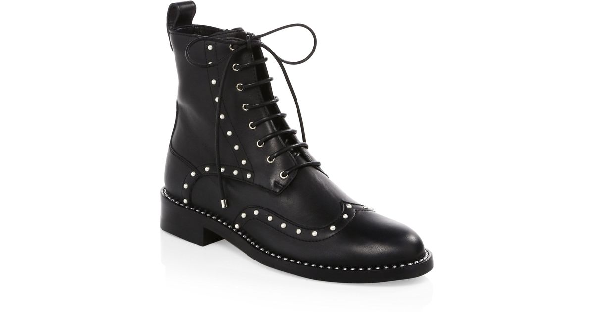 b441bb8cd27d Lyst - Jimmy Choo Hanah Studded Oxford Boots in Black