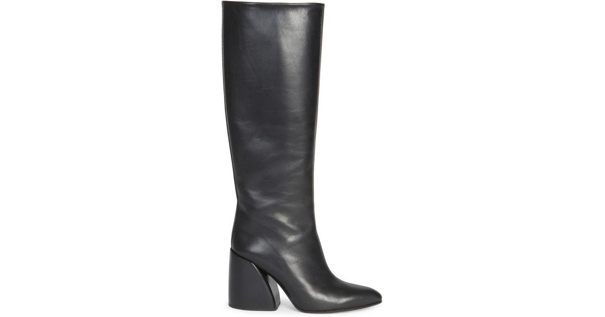 9bdd790d Chloé - Women's Wave Leather Block Heel Tall Boots - Black - Lyst