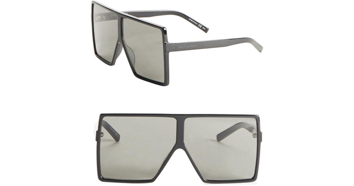 1fd656eda2d4 Saint Laurent Sl 183 Betty 68mm Shield Sunglasses in Black - Lyst