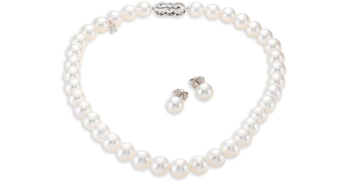 Lyst Mikimoto Ginza Diamond 9mm White South Sea Pearl Stud Earrings Necklace Set In Metallic