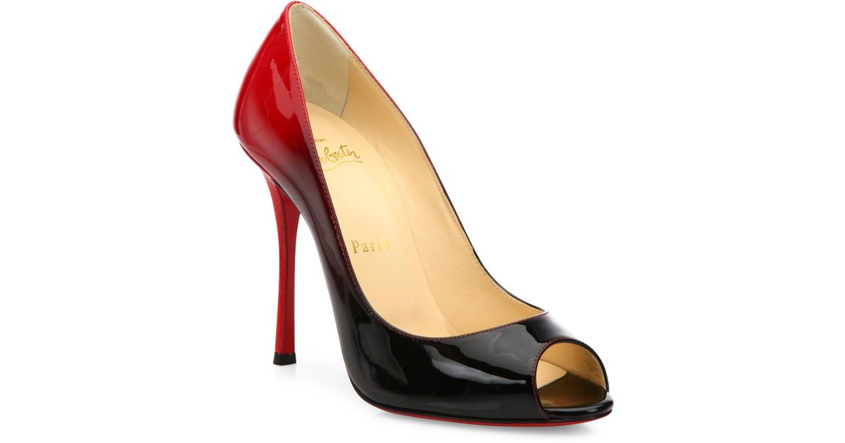 4747fd547ef0 Lyst - Christian Louboutin Yootish 100 Ombre Patent Leather Peep Toe Pumps  in Black