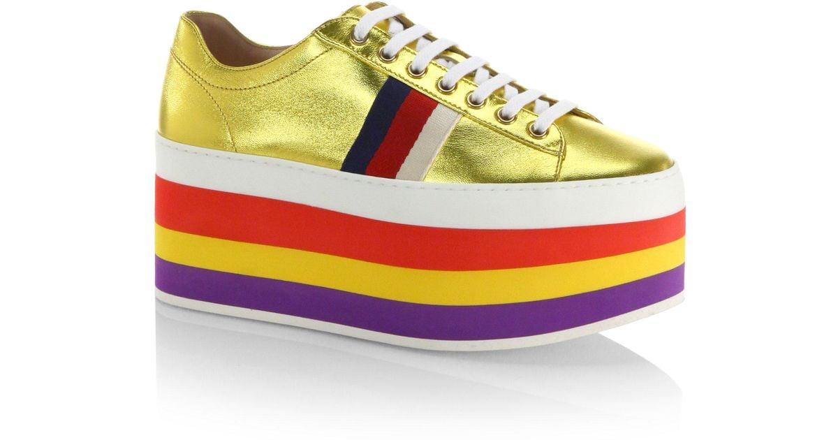 d50244dbc37c Lyst - Gucci Peggy Metallic Leather Rainbow Platform Sneakers in Metallic