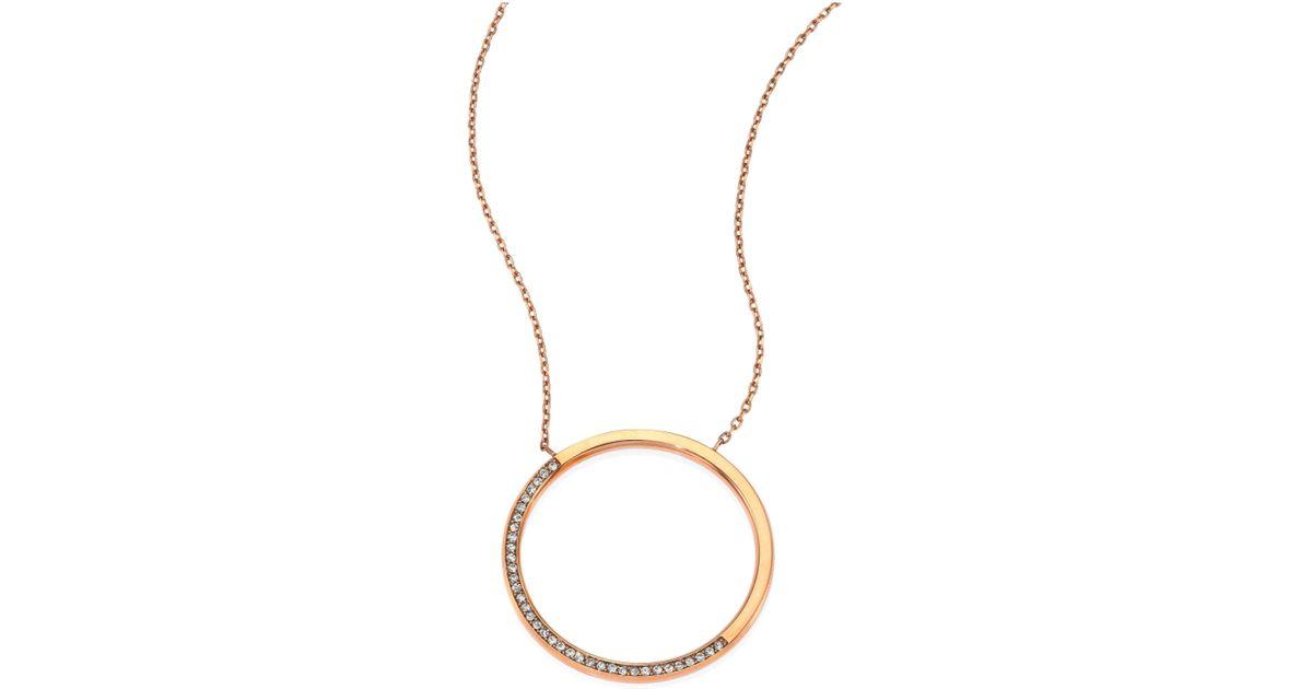 3c3120fdde2c3 Lyst - Michael Kors Brilliance Circular Pave Pendant Necklace in Metallic