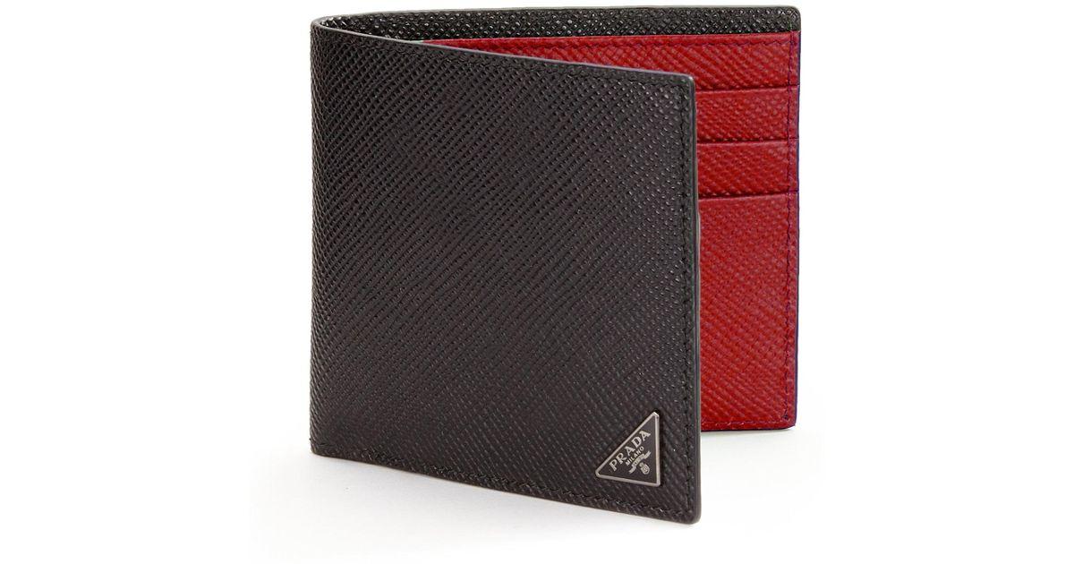 eb6fae5a8010 Prada Orizzontale Wallet in Black for Men - Lyst