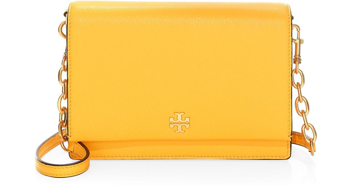 a58545faba Tory Burch Georgia Leather Flap Shoulder Bag in Yellow - Lyst