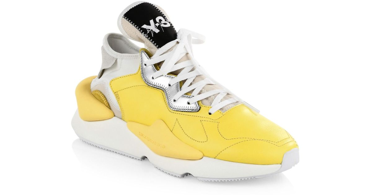 063f3bda82481 Y-3 Kaiwa Leather Sneakers in Yellow for Men - Lyst