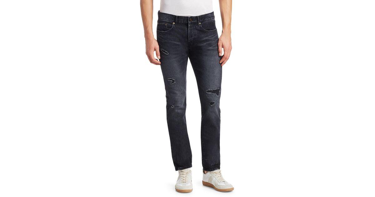 09e97d7bfcb Saint Laurent Rip & Repair Slim-fit Jeans in Blue for Men - Lyst