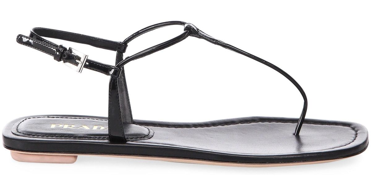 7a3cd6413a2101 Lyst - Prada Black Patent Leather Thong Sandals in Black - Save 5%