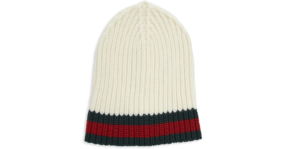 68df5ae5b40 Lyst - Gucci Charui Striped Wool Hat in White for Men