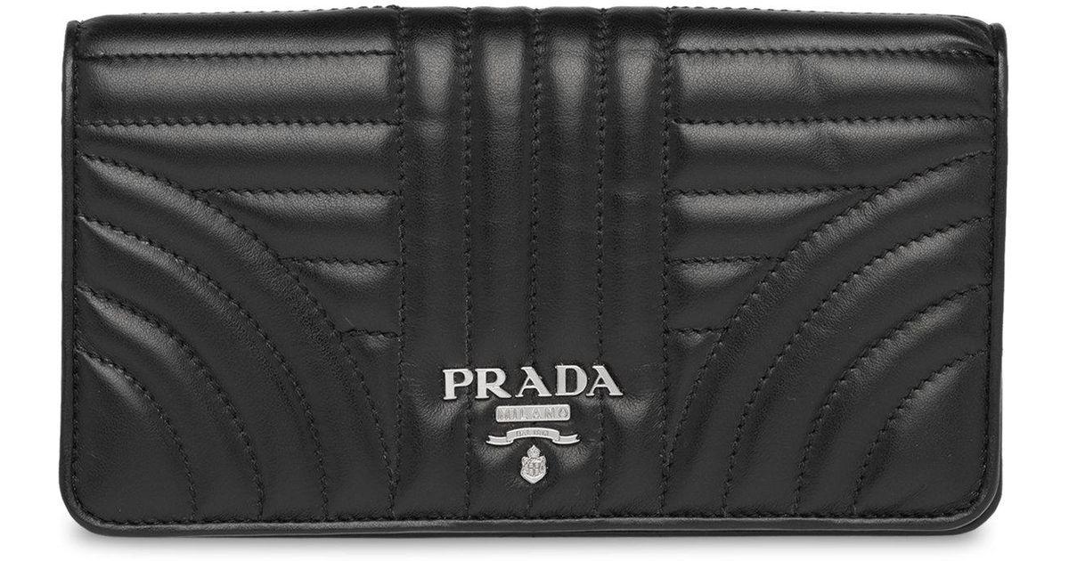 b4c9d2ddb26e75 ... france lyst prada quilted crossbody wallet on chain in black bc901 49c19
