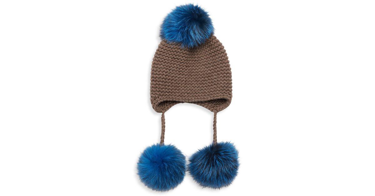 0e459f17c9f Lyst - Inverni Triple Pom Knit Cashmere   Fox Fur Beanie in Blue