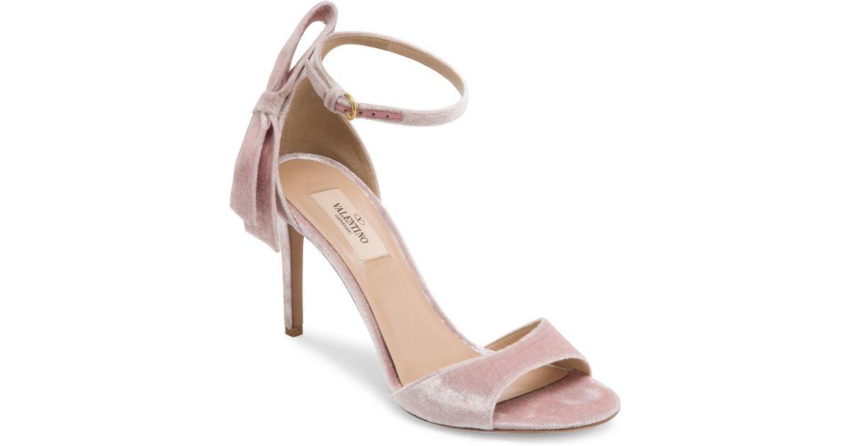 dbf5e326e84 Lyst - Valentino Pretty Bow Velvet Ankle-strap Sandals in Pink