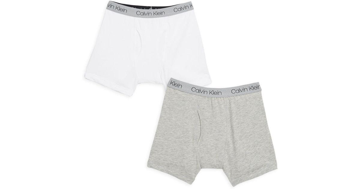 Calvin Klein Little Boy s   Boy s Two-pack Logo Boxer Briefs in White for  Men - Lyst 02f5dcd188f