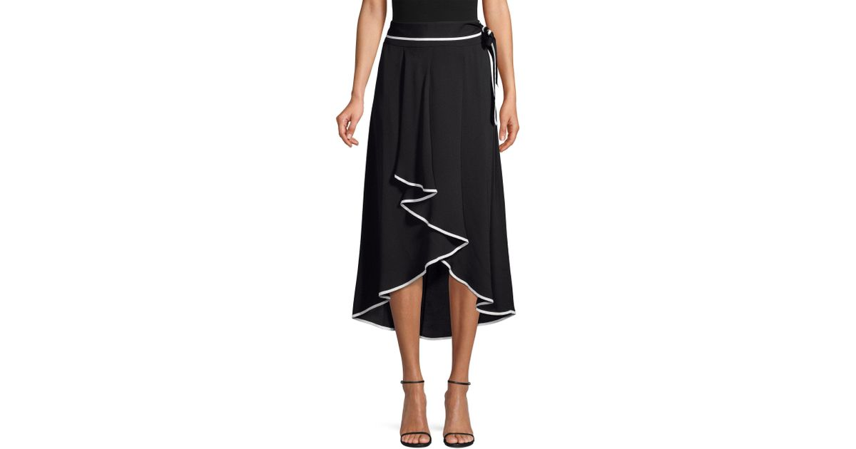 d2db2c1ccb Lyst - Beatrice B. Tie-waist Contrast Piping High-low Midi Skirt in Black