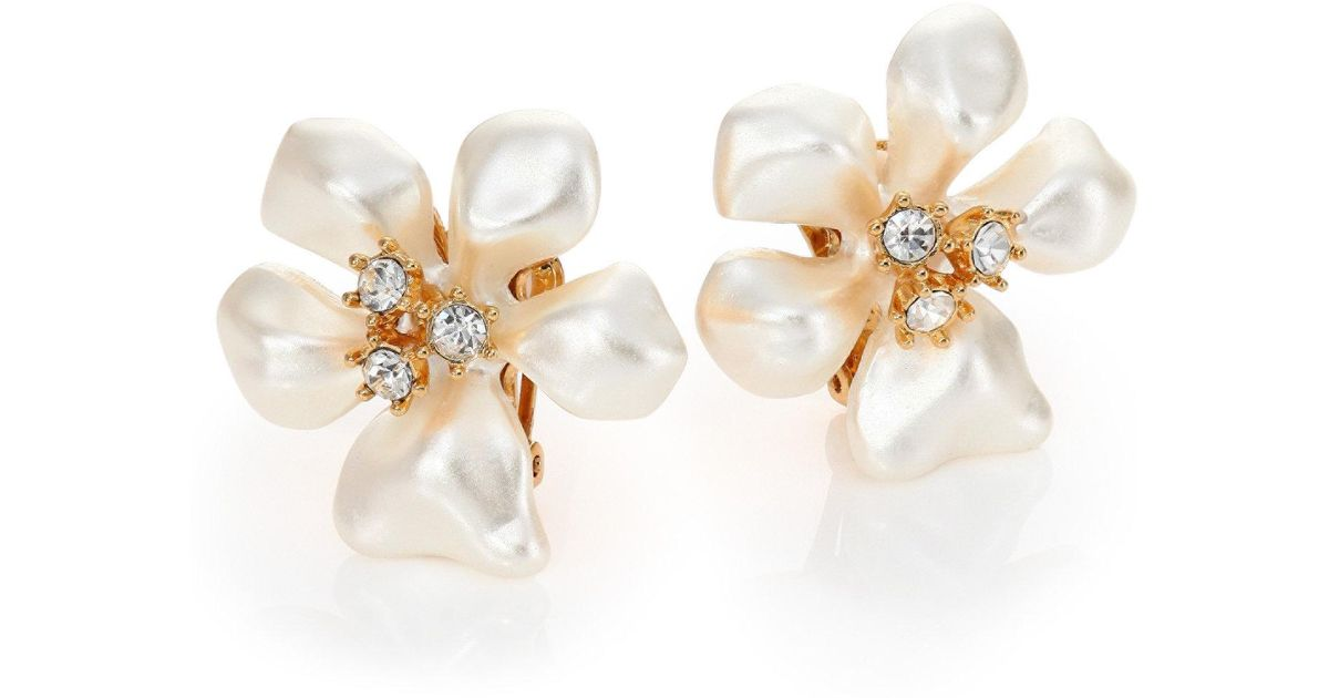 Kenneth Jay Lane Crystal Flower Clip Earrings Gold/crystal yQjzm5R