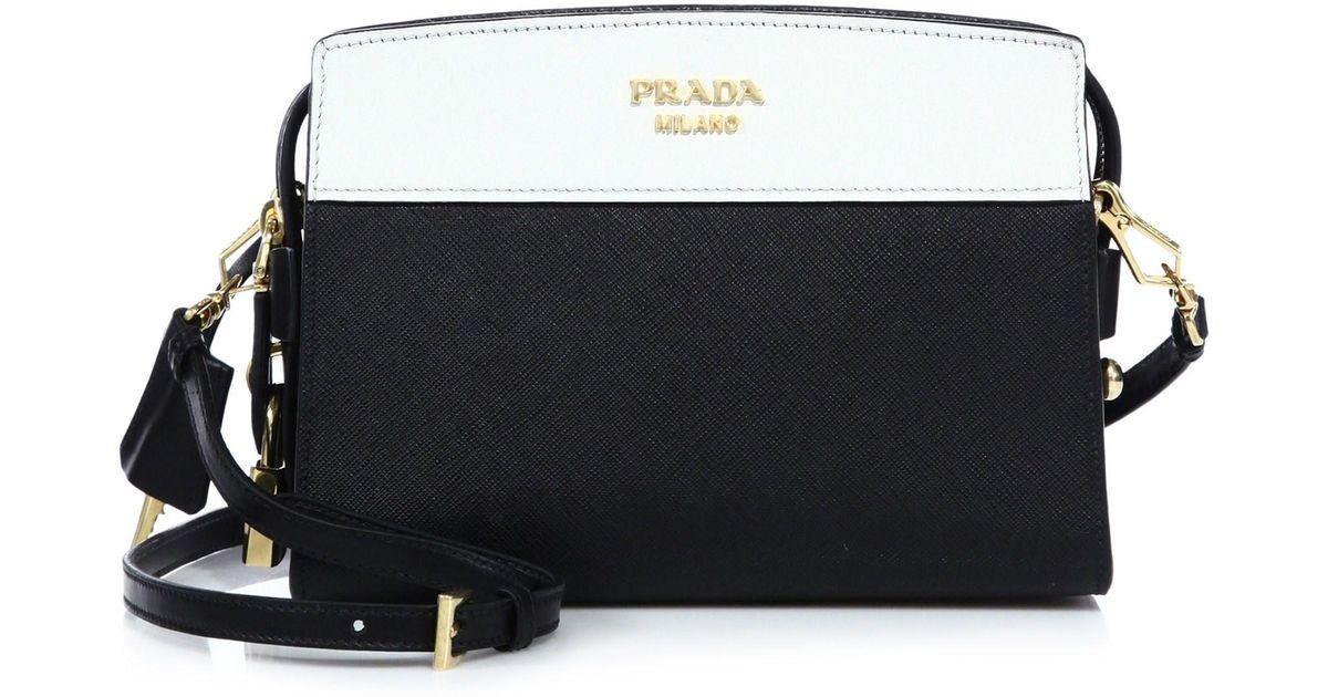 cad952ea06 Prada Esplanade Leather Shoulder Bag in Black - Lyst