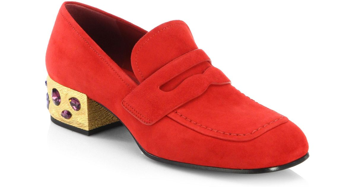 9cbddb9bc2c Lyst - Prada Jewel Heel Suede Loafer Pumps in Red