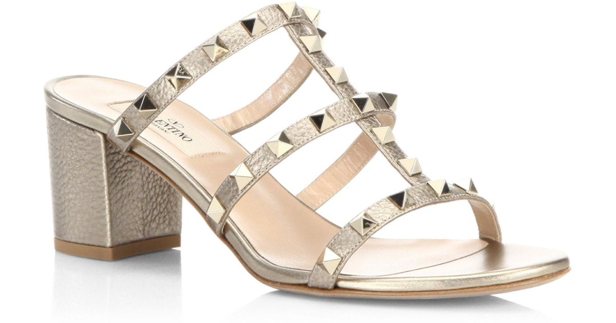 the cheapest distinctive design huge discount Valentino Multicolor Rockstud Metallic Leather Block Heel Mules