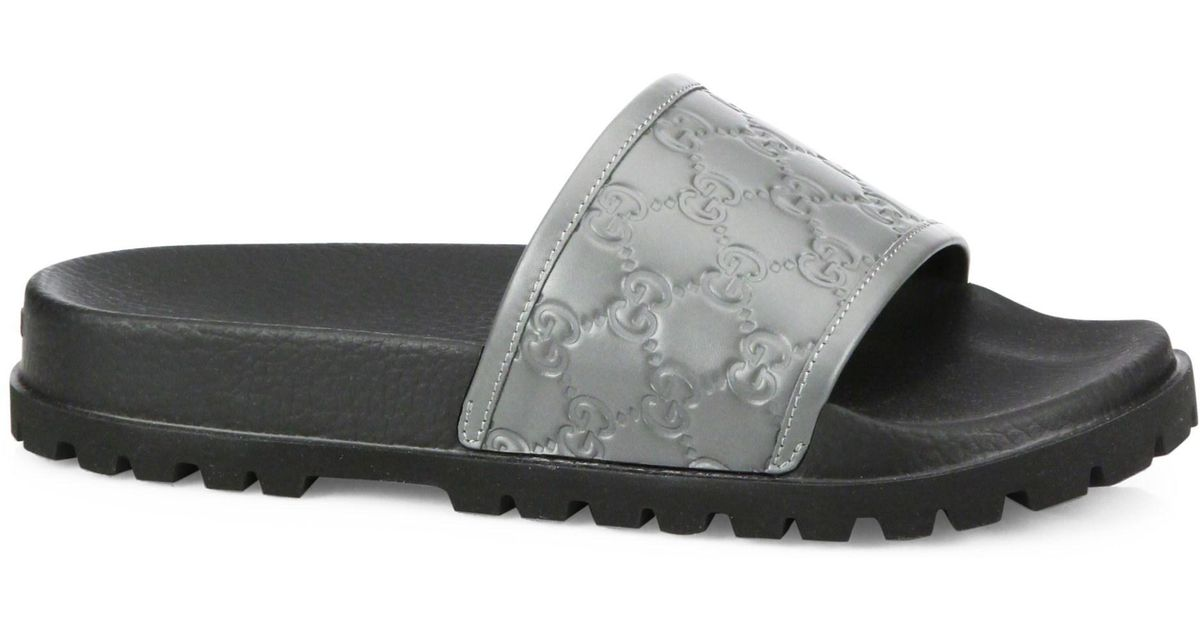 41ae2d2a7e95 Lyst - Gucci Signature Slide Sandal in Gray for Men