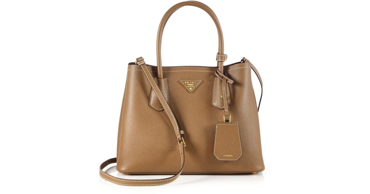 57bd39621d7c23 ... new arrivals lyst prada saffiano cuir small double bag in brown 42537  92689 ...