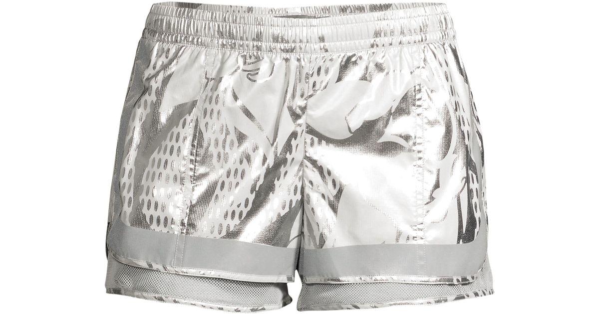 c585d18e564bb8 Lyst - adidas By Stella McCartney Metallic Abstract Flower Shorts in  Metallic