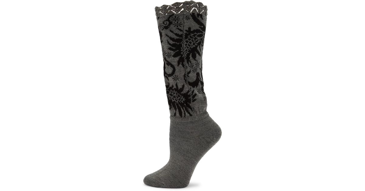 Natori Scalloped Feathers Crew Boot Socks EiftgV