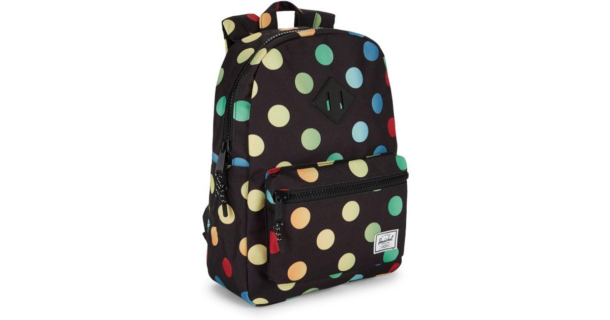 Herschel Supply Co. Kid s Heritage Youth Polkadot Backpack in Black - Lyst 2adb1d41cb9ed