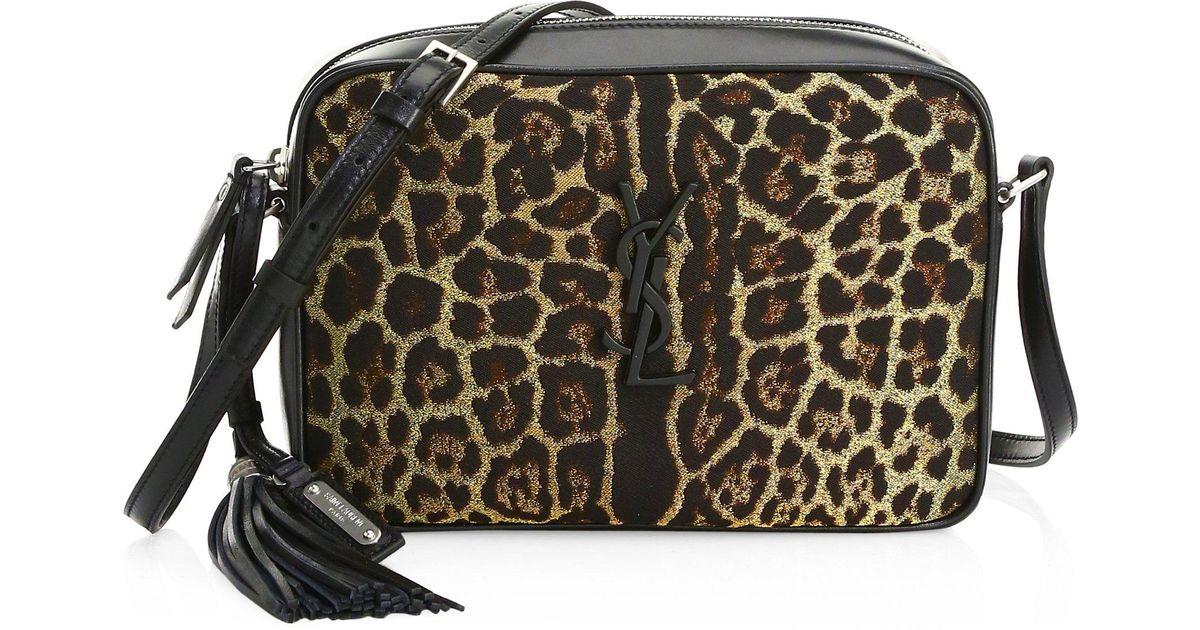 ... textured leather  Saint Laurent Lou Small Monogramme Leopard Camera Bag  - Lyst finest selection cb39d 04363 ... 275603c45463a