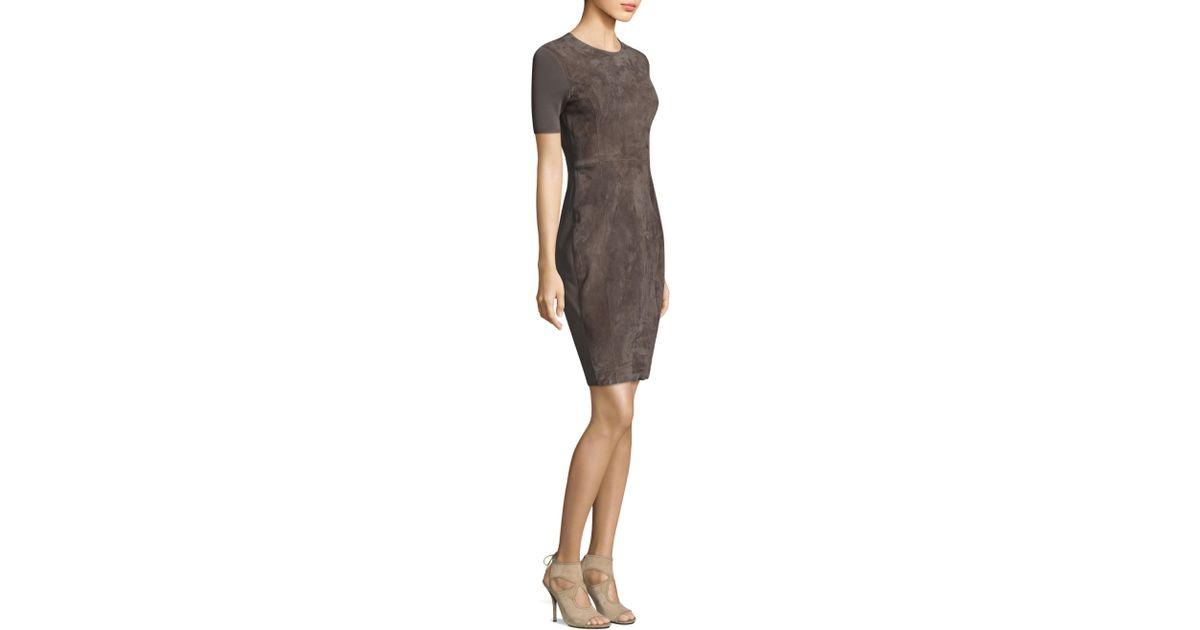 b128c420485f Lyst - Elie Tahari Emily Suede Sheath Dress in Gray