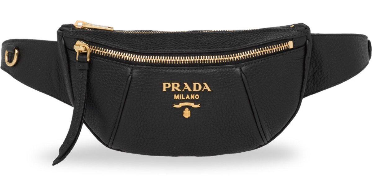 26ac0b5642 Prada Vitello Daino Pebbled Leather Belt Bag in Black - Lyst
