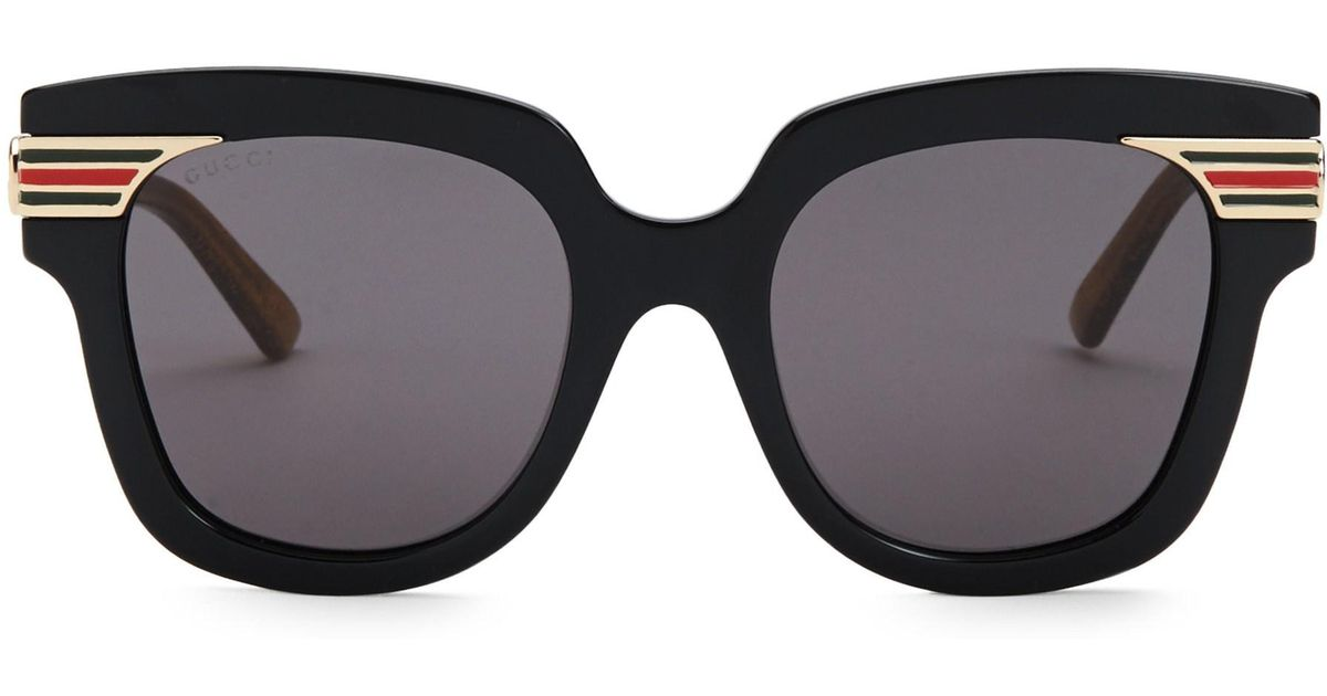 c45c73ccbef Lyst - Gucci GG 0281a Rectangle Sunglasses in Black - Save 60%