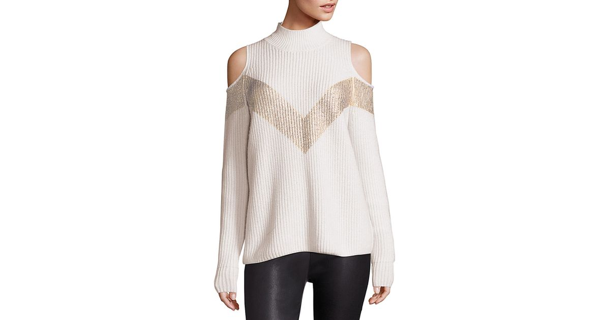 26d6288c0dc6 Zoe Jordan Hawking Wool   Cashmere Chevron Cold-shoulder Sweater in White -  Lyst