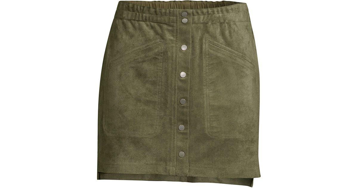 b4327f766c BCBGMAXAZRIA Snap-button Faux-suede Mini Skirt in Green - Save 43% - Lyst