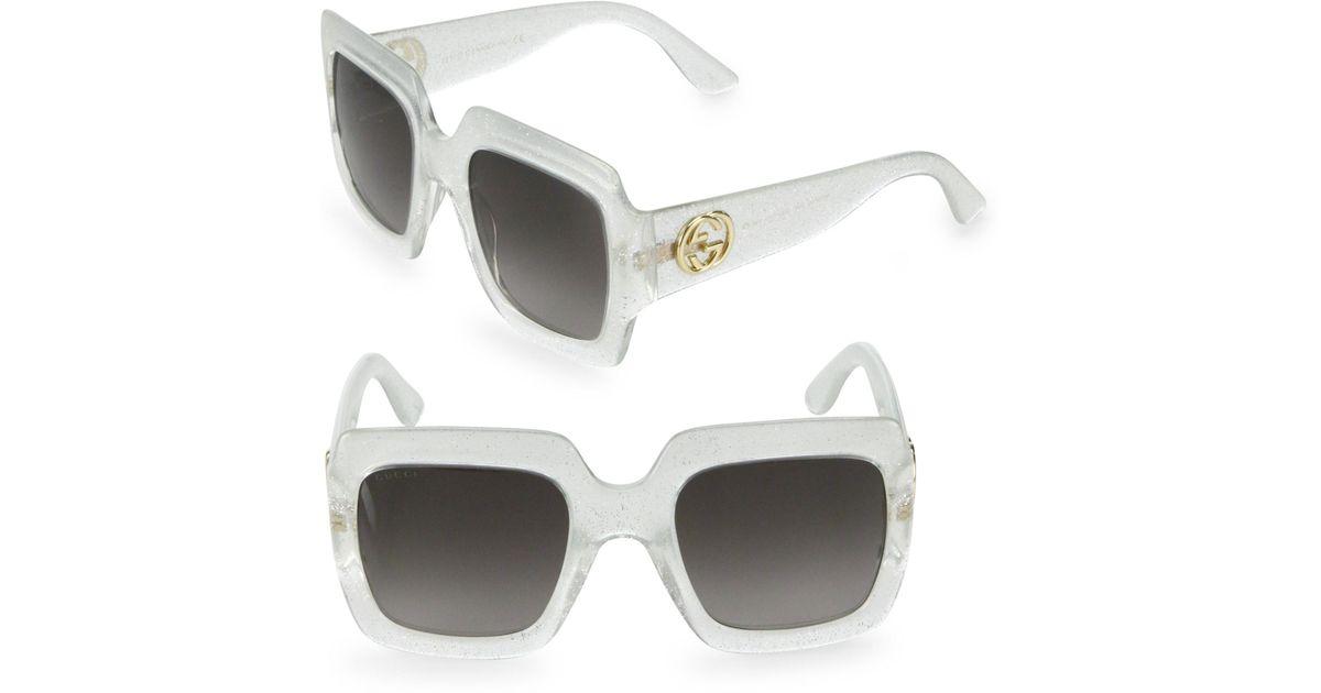 e4d0c20d204 Lyst Gucci 54mm Oversized Glitter Square Sunglasses In Metallic