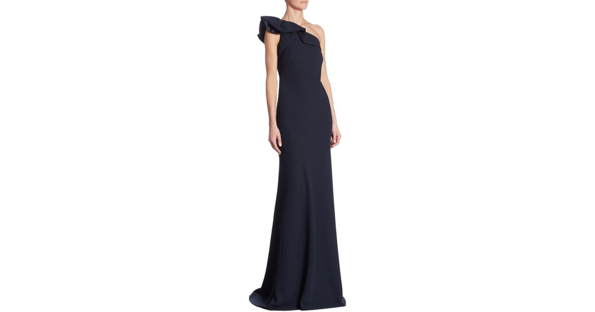 Lyst - Carmen Marc Valvo One-shoulder Crepe Ruffled Gown in Blue