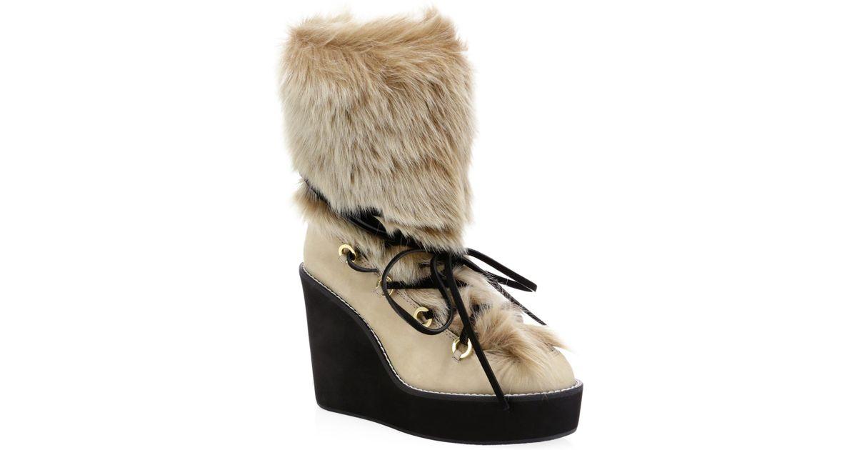 e7bc2dbd36a5 Lyst - Stuart Weitzman Women s Nikita Fur-trim Suede Platform Boots - Black  - Size 8.5 in Natural