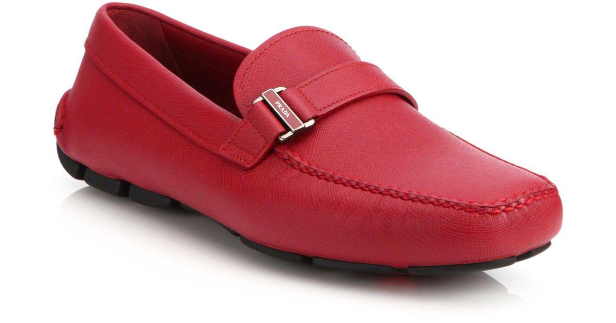 9bce381e8a1 switzerland lyst prada saffiano drivers in red for men 4a8e6 a46c6