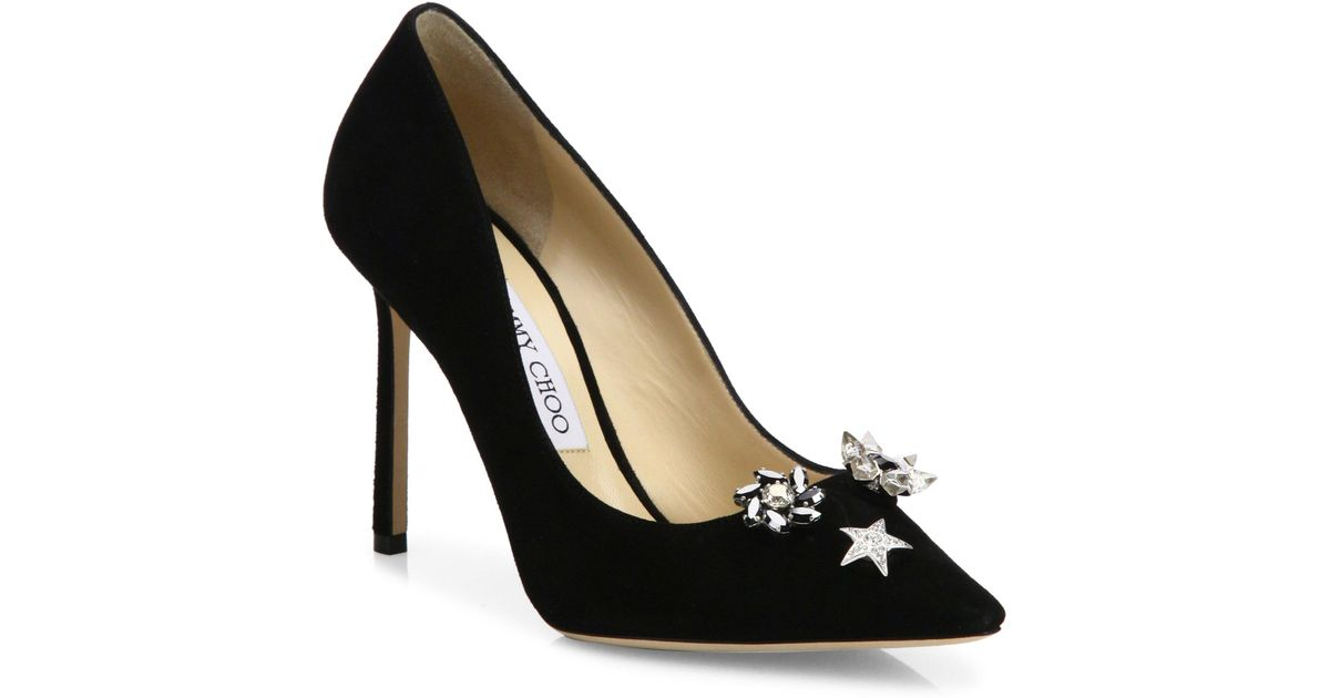 2bb071893014 Jimmy Choo Jasmine 100 Crystal-button Suede Pumps in Black - Lyst