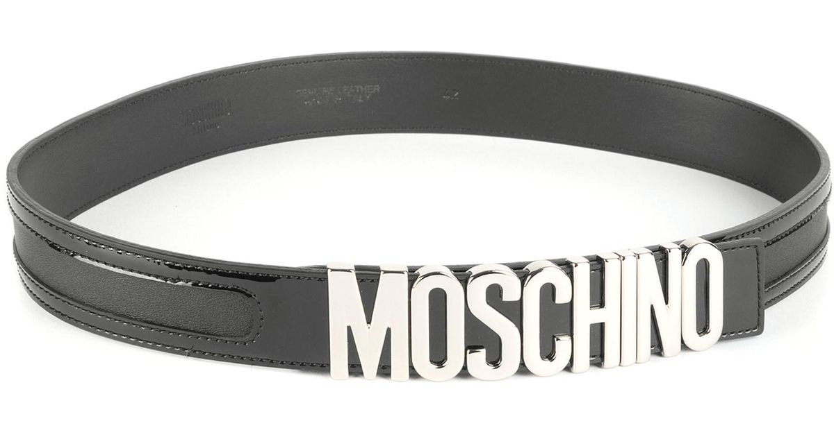 19f870b81d8 Lyst - Moschino Logo Leather Belt in Black