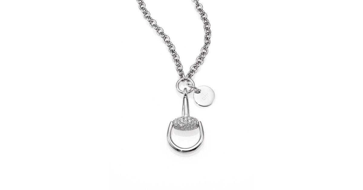 926f723a41e Gucci Horsebit Diamond   18k White Gold Pendant Necklace - White Gold in  Metallic - Lyst