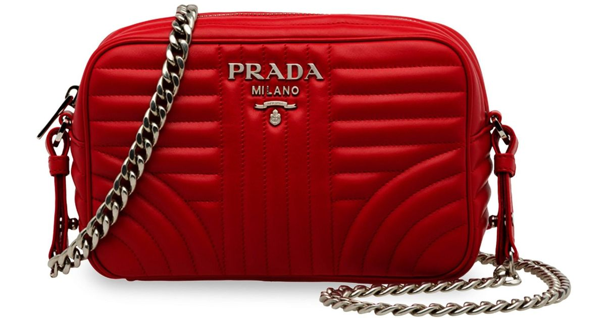 e4f3339ae44c Lyst - Prada Women s Diagramme Camera Bag - Cipria in Red