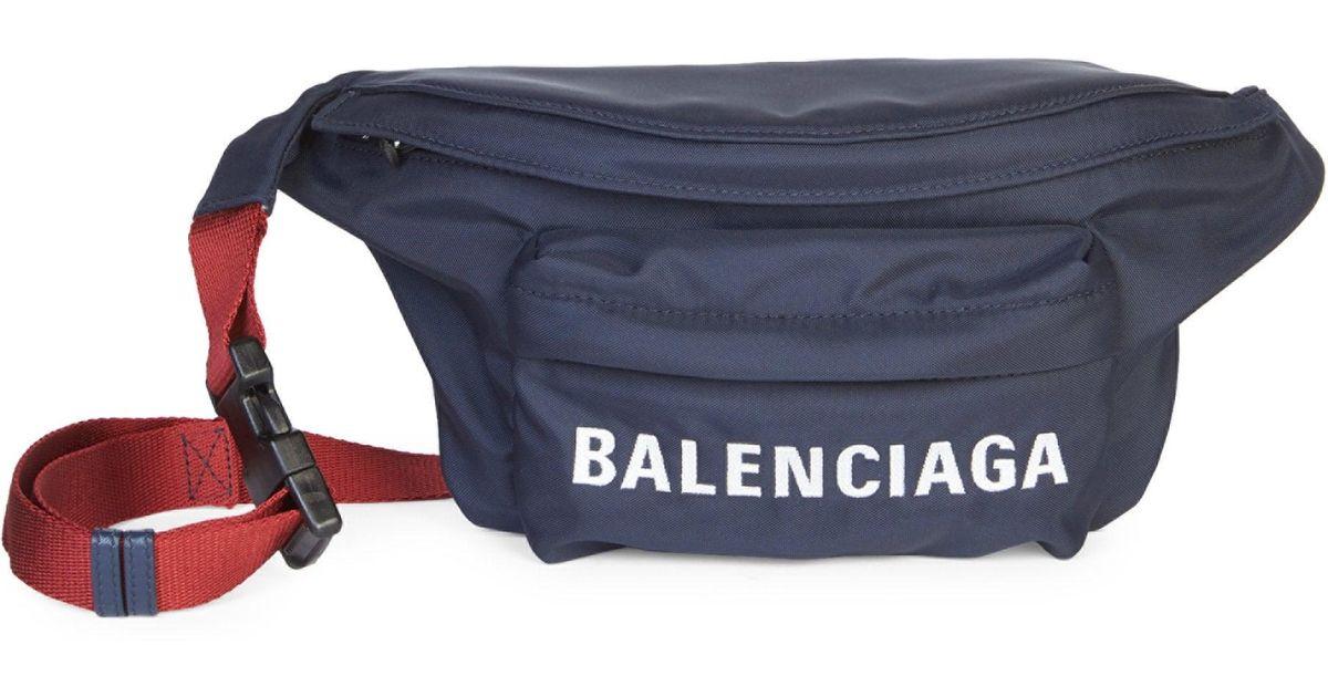 a9eb262033 Lyst - Balenciaga Women s Wheel Nylon Logo Belt Bag - Navy in Blue
