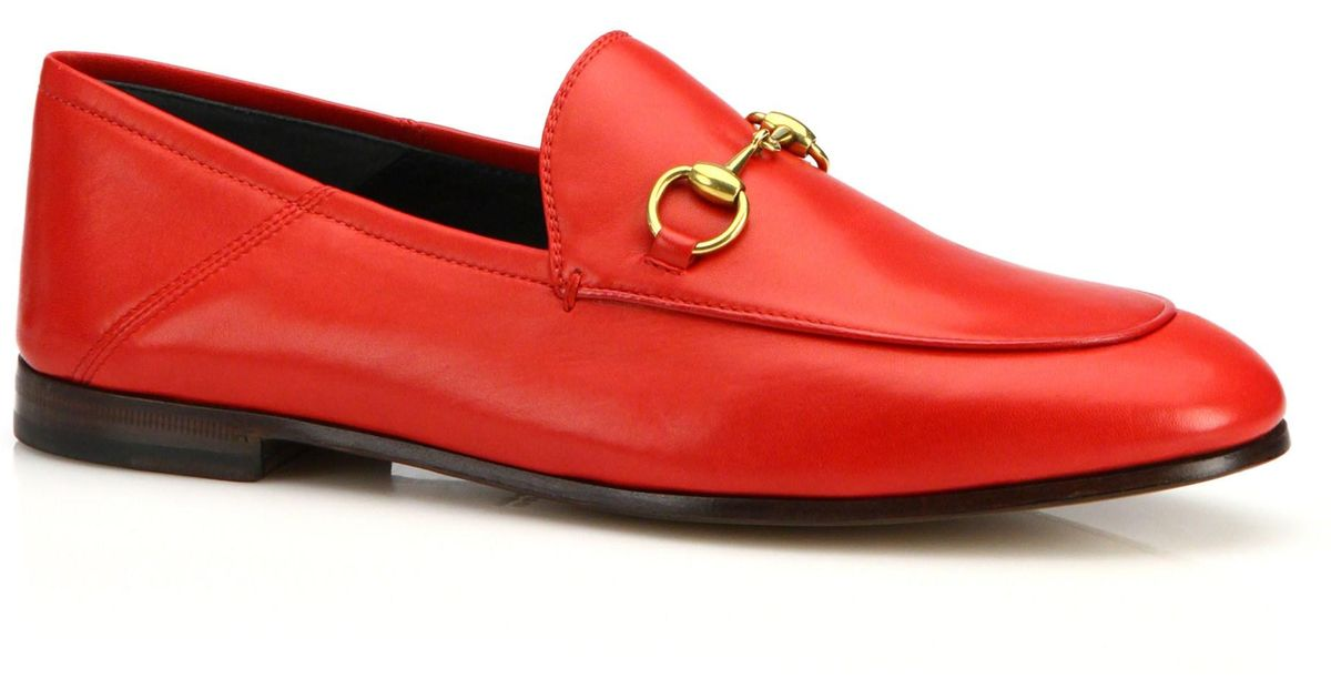e31e52b5234 Lyst - Gucci Brixton Leather Loafers in Red