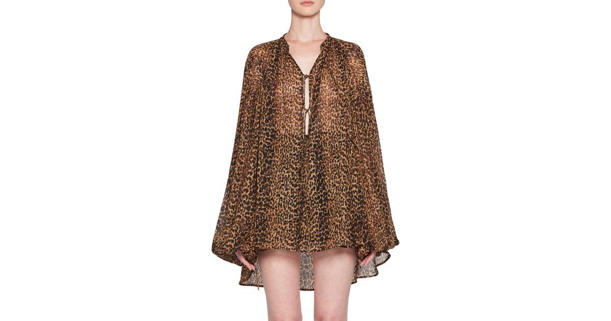 e32b2dc94539f3 Saint Laurent Women's Leopard Print Peasant Top - Leopard - Size 36 (4) in  Brown - Lyst