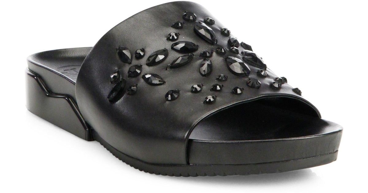 42511d66b011e1 Lyst - Tory Burch Brae Crystal-embellished Leather Slides in Black