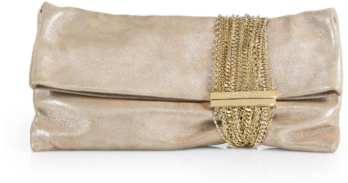 c07887596ef Lyst - Jimmy Choo Women's Chandra Shimmer Suede Chain Clutch - Black in  Natural
