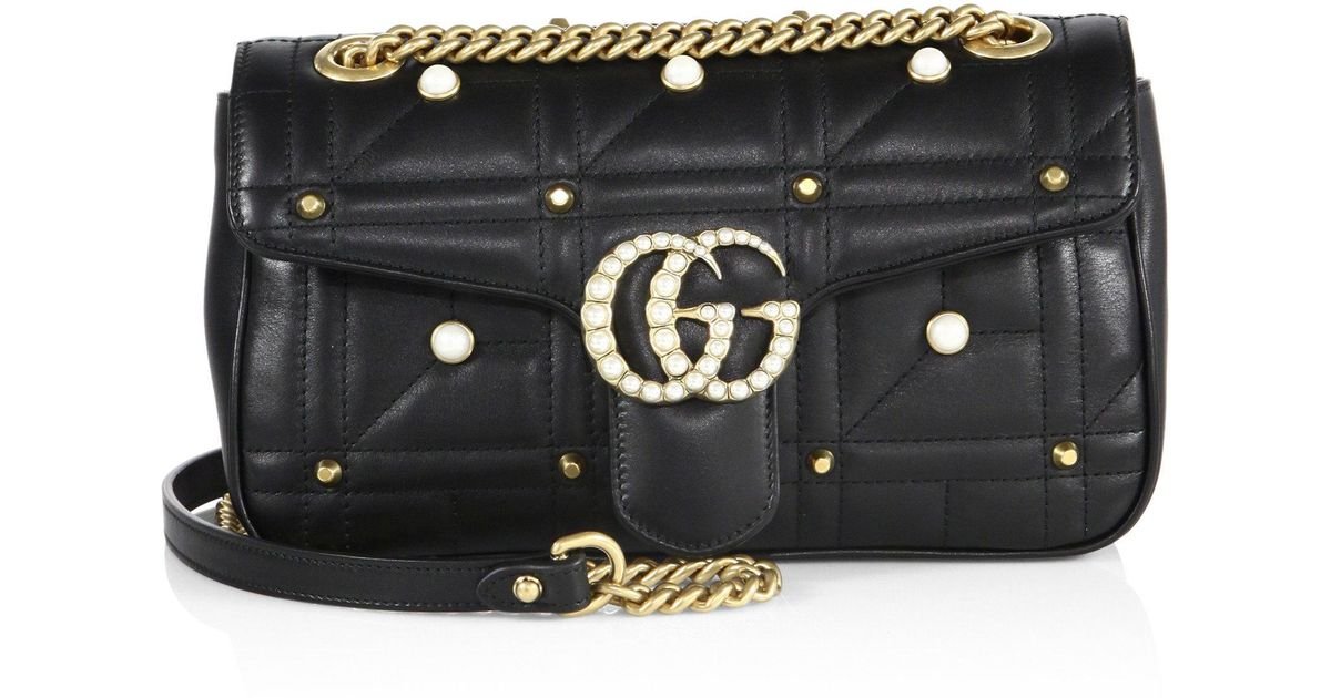 68743d0494c8 Gucci Small Gg Marmont Studded Matelassé Leather Chain Shoulder Bag in Black  - Lyst