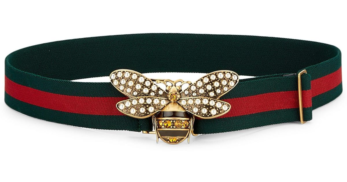 5465468bb0cf Lyst - Gucci Women s Pearly Bee Buckle Sylvie Web Belt - Red Green in Green