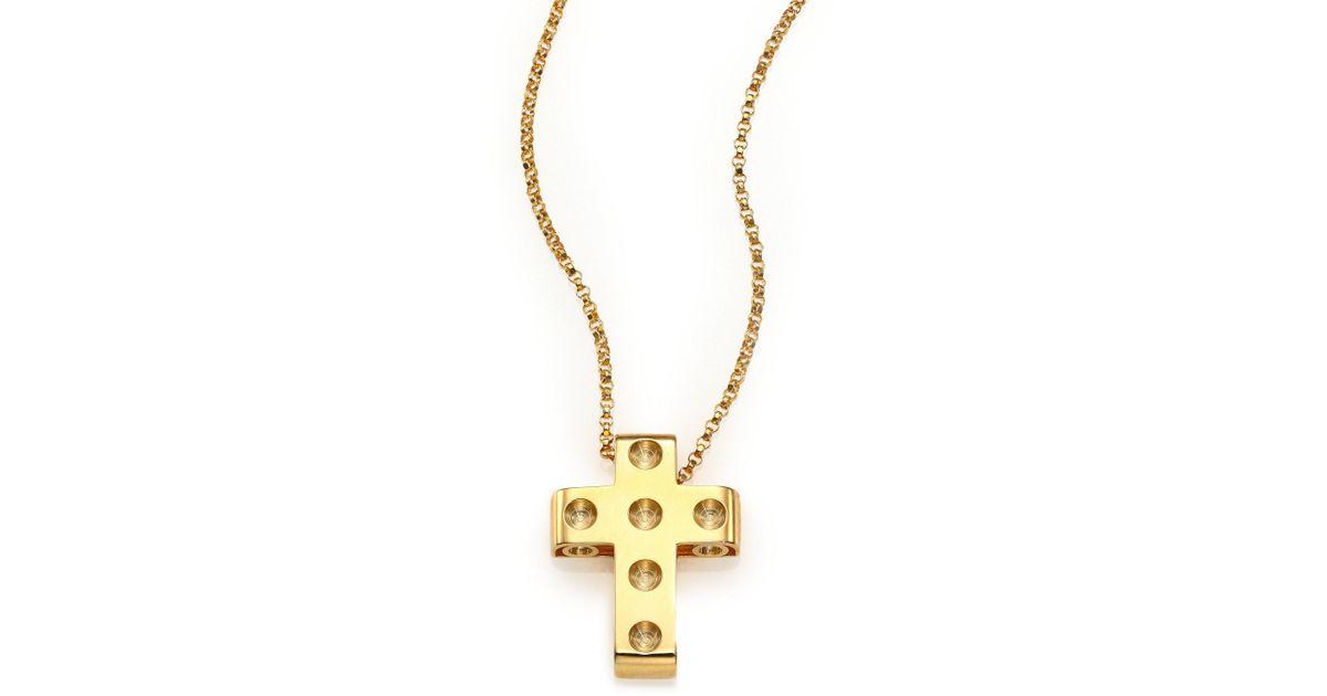 Lyst roberto coin pois moi 18k yellow gold cross pendant necklace lyst roberto coin pois moi 18k yellow gold cross pendant necklace in metallic aloadofball Gallery