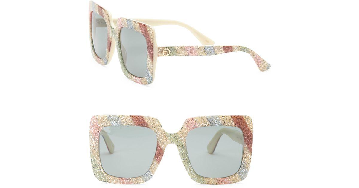 029ddcaceb8 Gucci White Glitter Oversized Rectangular Sunglasses 53mm - Lyst